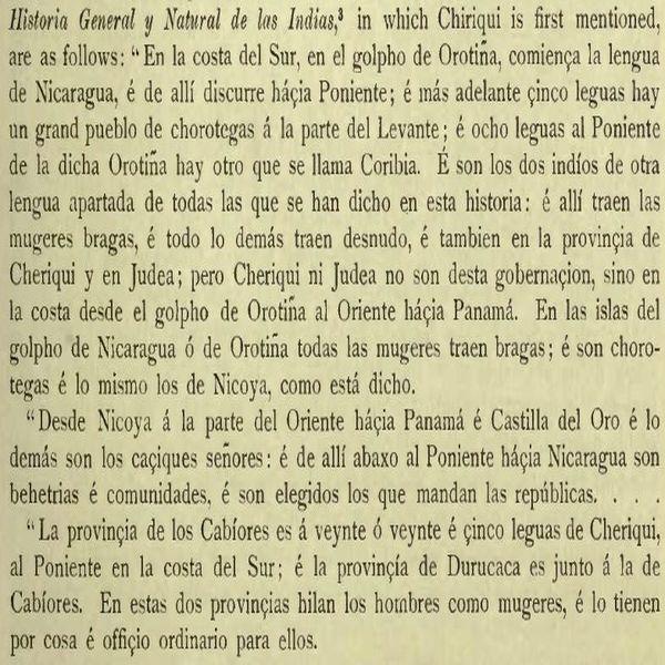 Texto en el que se menciona por primera vez a Chiriquí
